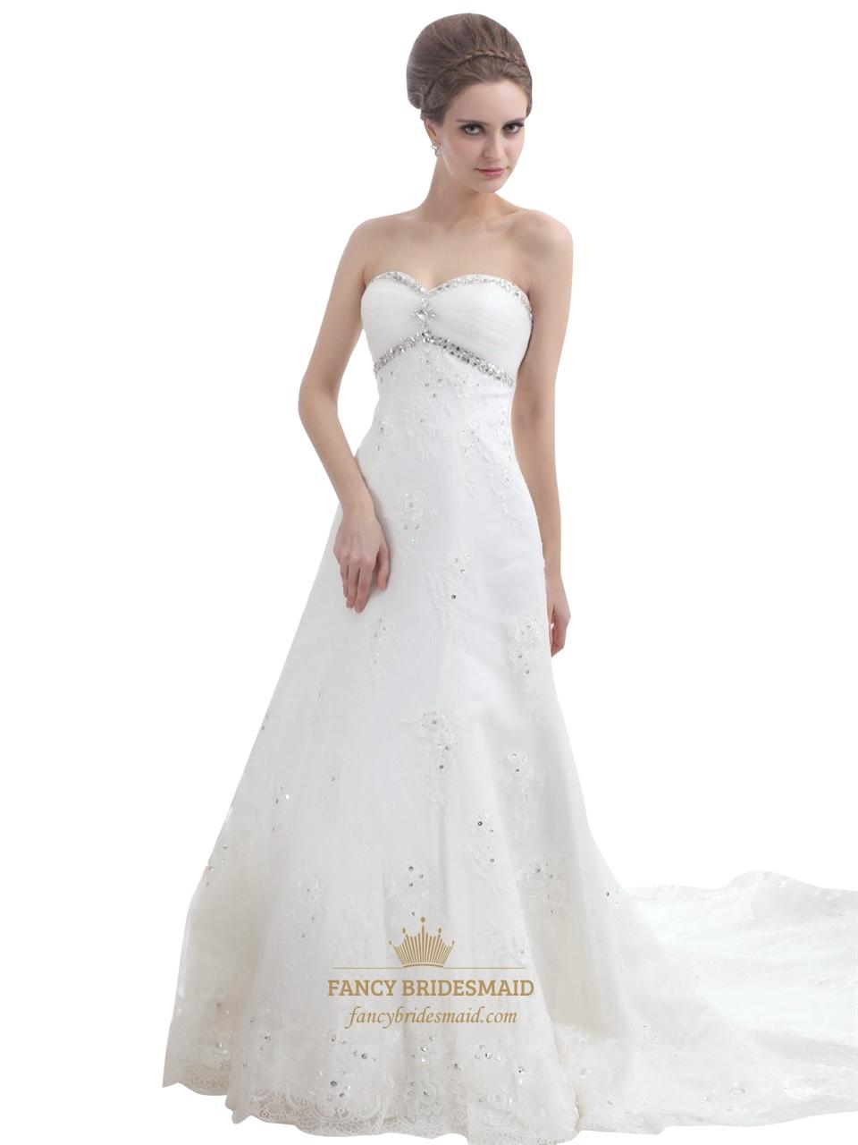 Ivory strapless beaded tulle wedding dresses with semi for Ivory beaded wedding dress
