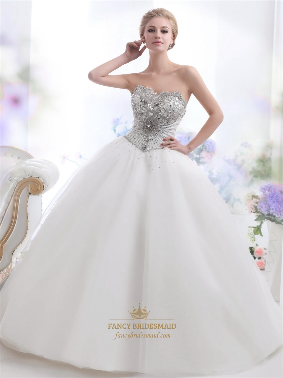 ivory sweetheart ball gown heavily beaded bodice tulle