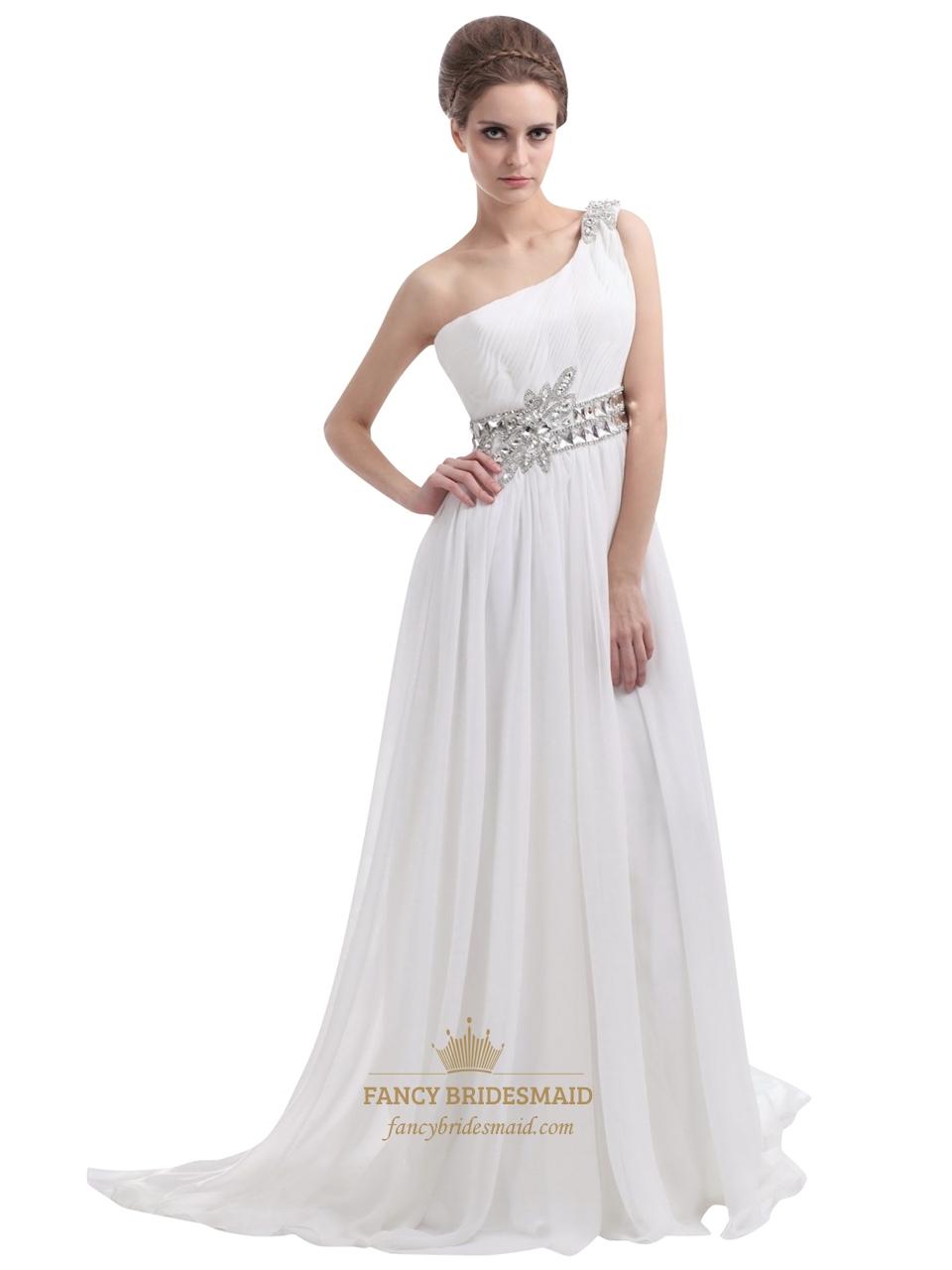 One Shoulder Chiffon Beach Wedding Dress Fancy