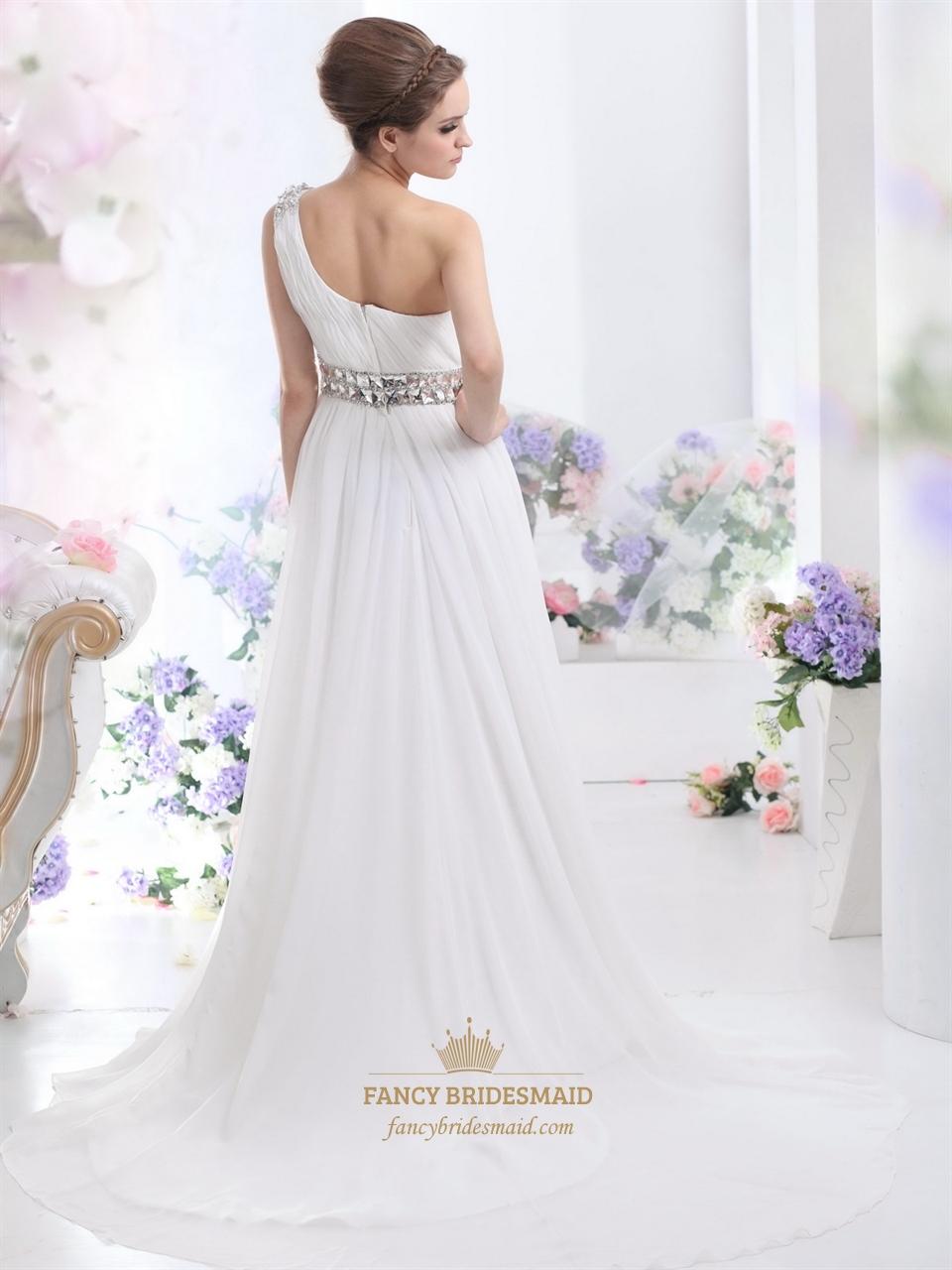 One Shoulder Chiffon Beach Wedding Dress Bridesmaid Dresses