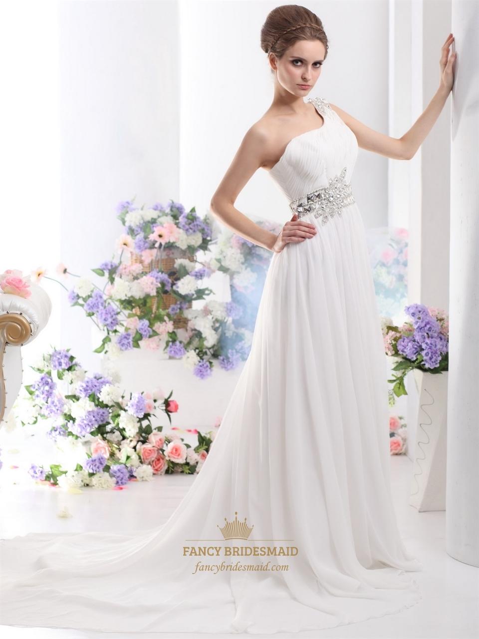 Ivory One Shoulder Chiffon Sweep Train Beach Wedding Dress