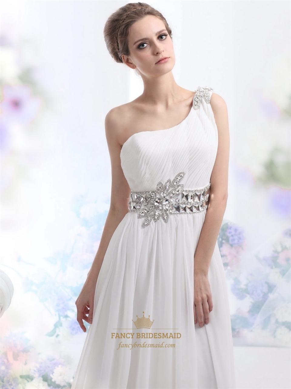 One shoulder chiffon beach wedding dress bridesmaid dresses for We buy wedding dresses