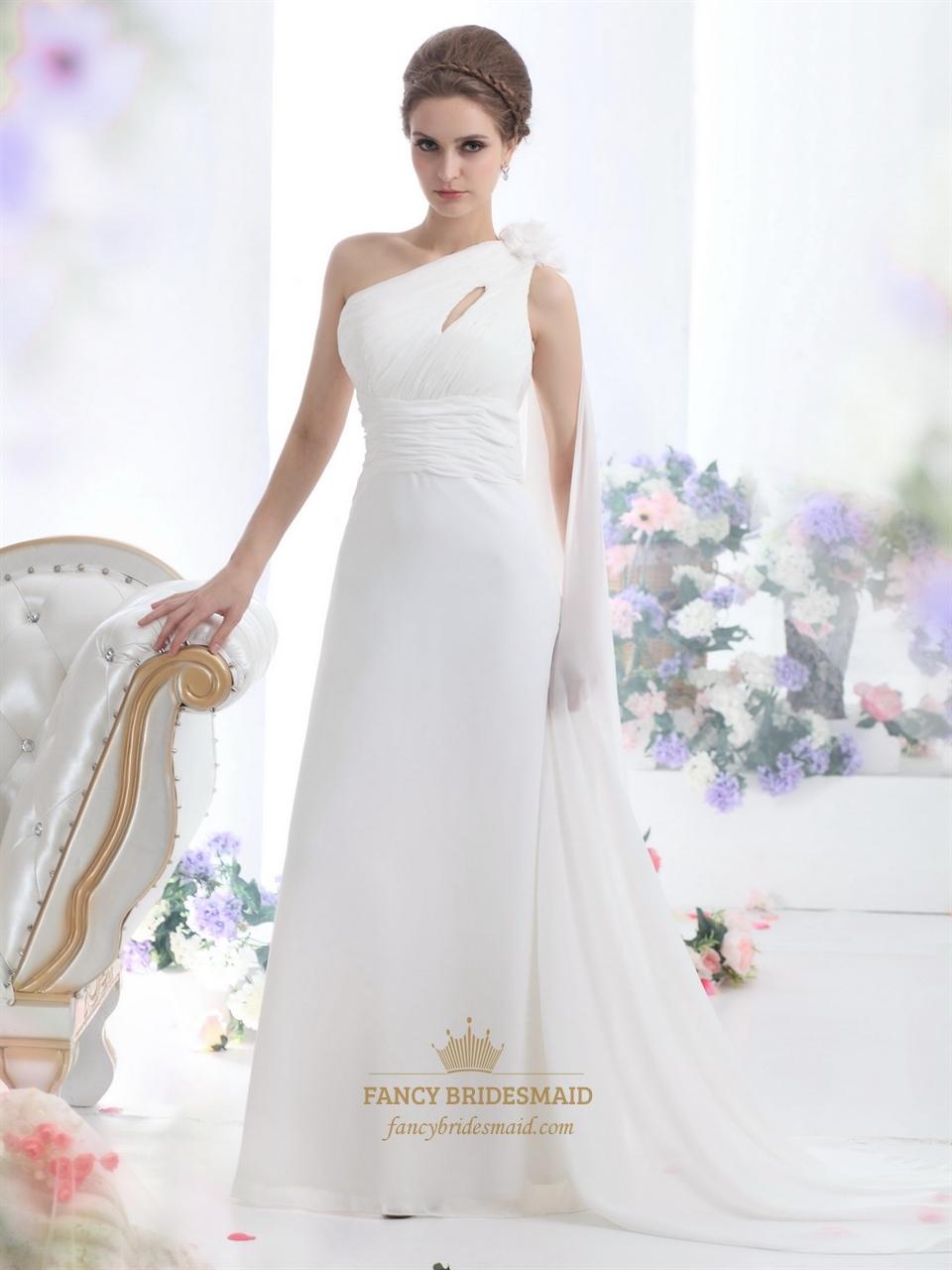 Ivory one shoulder chiffon beach watteau train wedding for One shoulder wedding dress