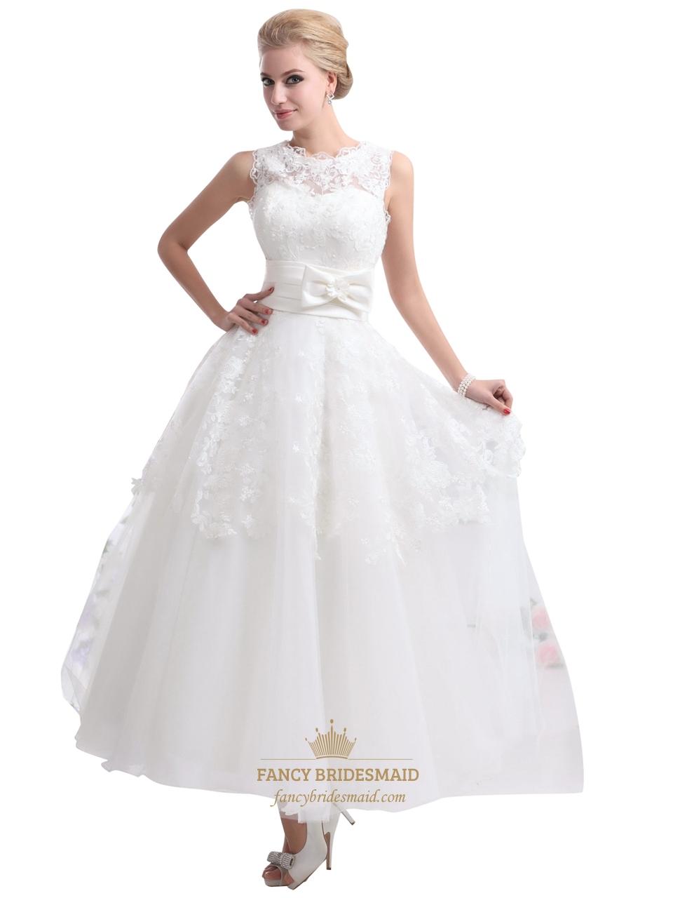 ivory lace bodice tulle ankle length wedding dresses with keyhole back