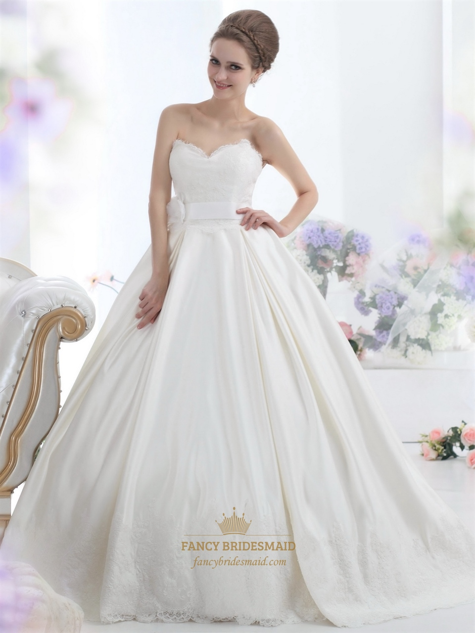 Ivory sweetheart strapless lace bodice wedding dress with for Wedding sashes for dresses