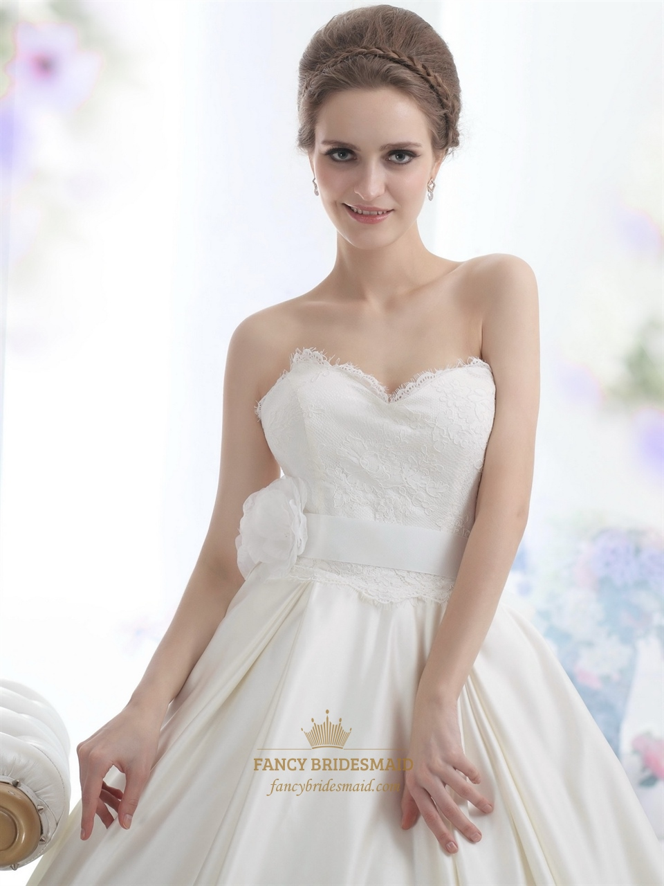 Ivory sweetheart strapless lace bodice wedding dress with for Sweetheart halter wedding dress