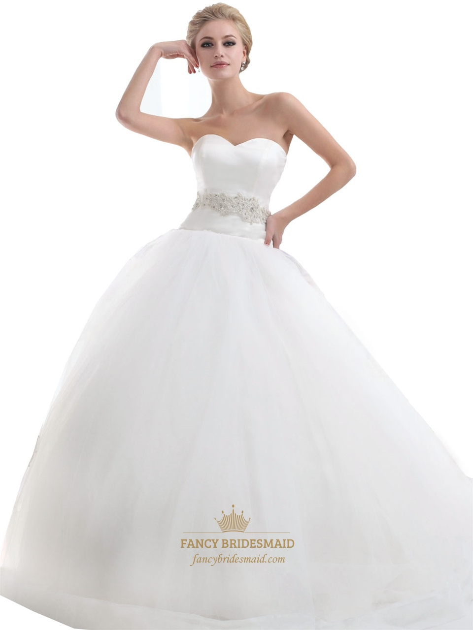 Ivory sweetheart dropped waist tulle wedding dresses with for Wedding dresses for bridesmaid