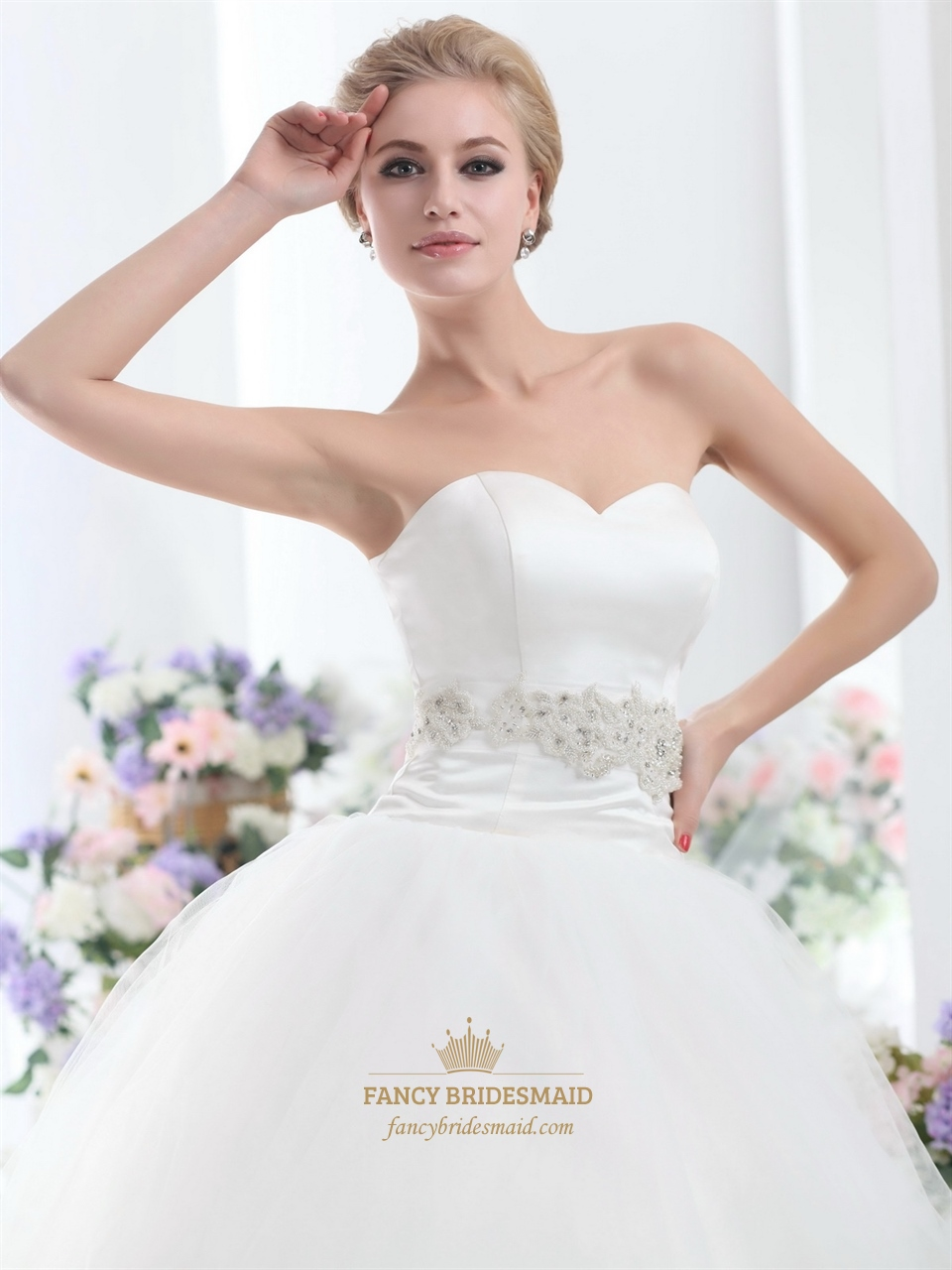 Ivory Sweetheart Dropped Waist Tulle Wedding Dresses With Beaded ...
