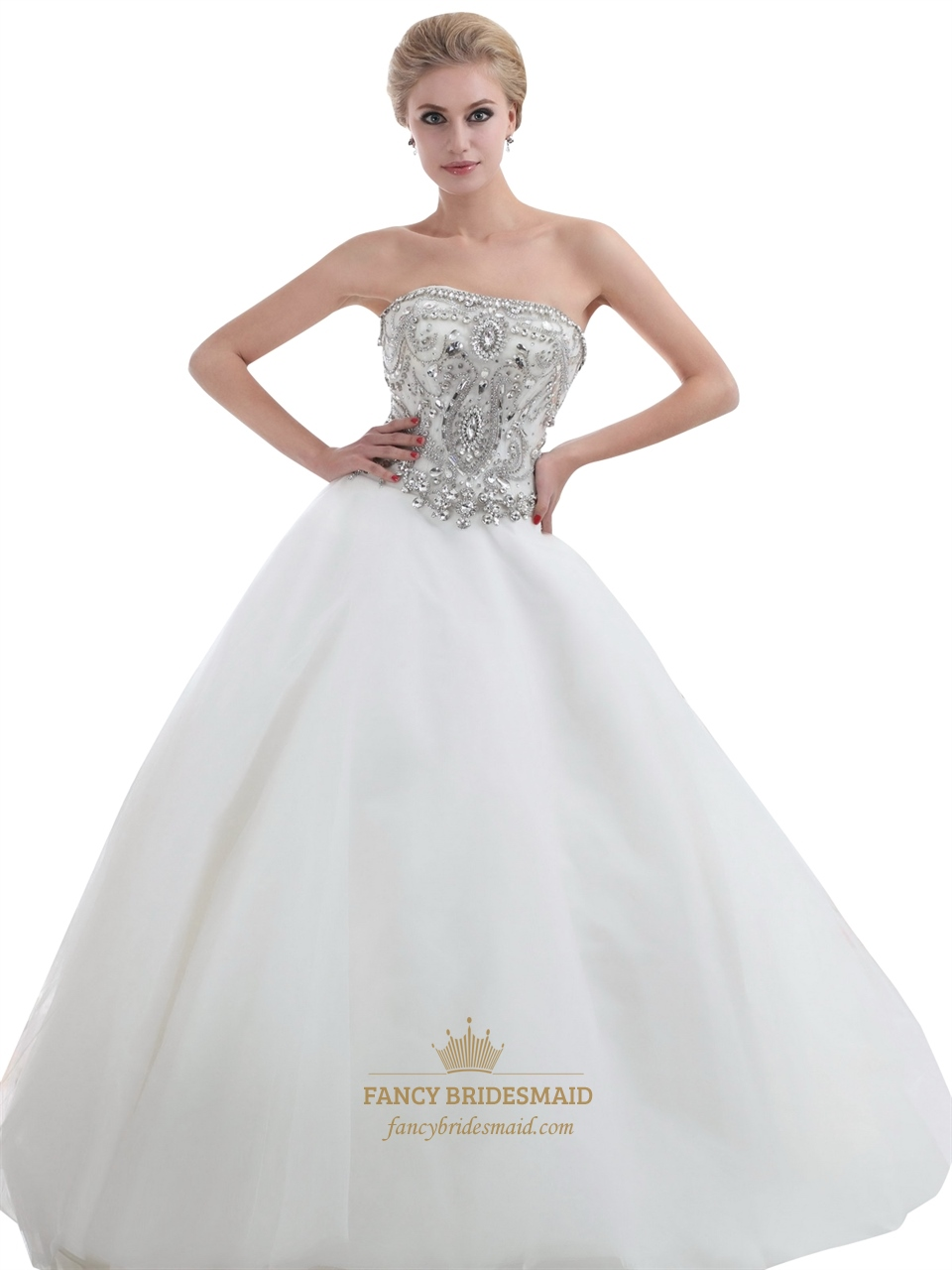 Ivory Strapless Heavily Beaded Bodice Chapel Train Tulle Wedding Dresses