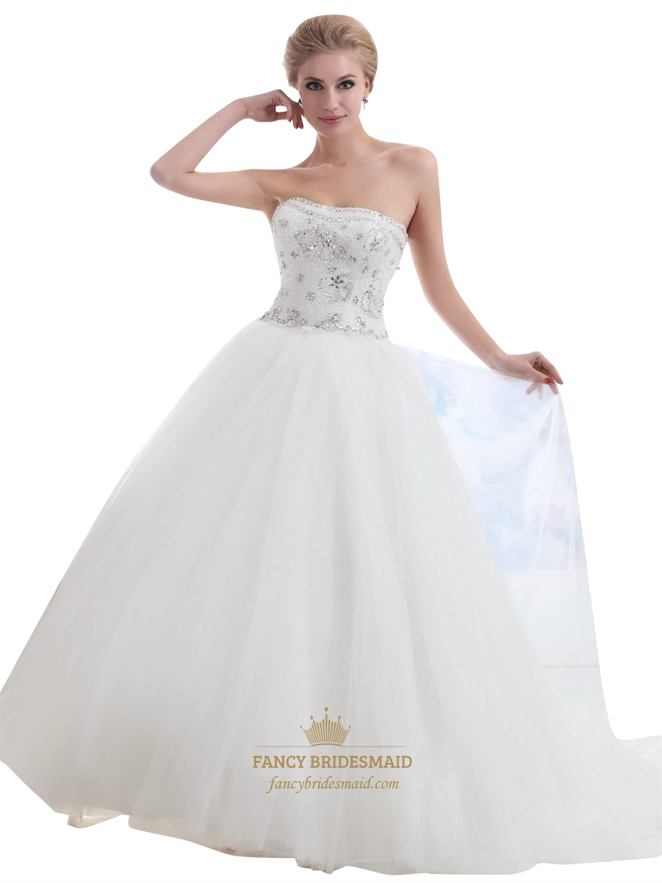 Ivory strapless tulle silver beaded bodice ball gown for Tulle halter wedding dress