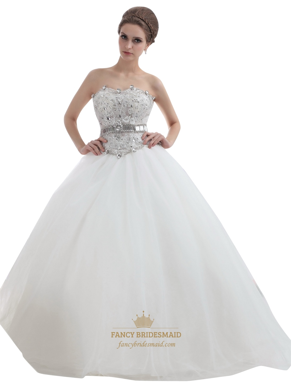 Ivory Strapless Tulle Ball Gown Wedding Dress With Rhinestone Bodice ...