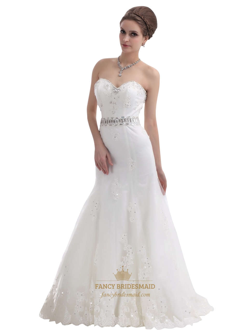 Mermaid strapless beaded appliques wedding dress with for Mermaid strapless wedding dress