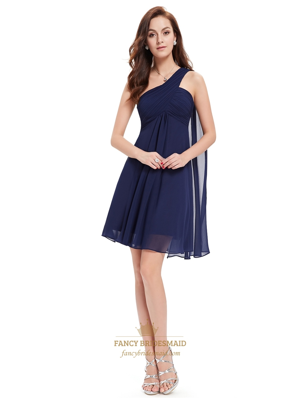 Short bridesmaid dress with watteau train fancy bridesmaid dresses