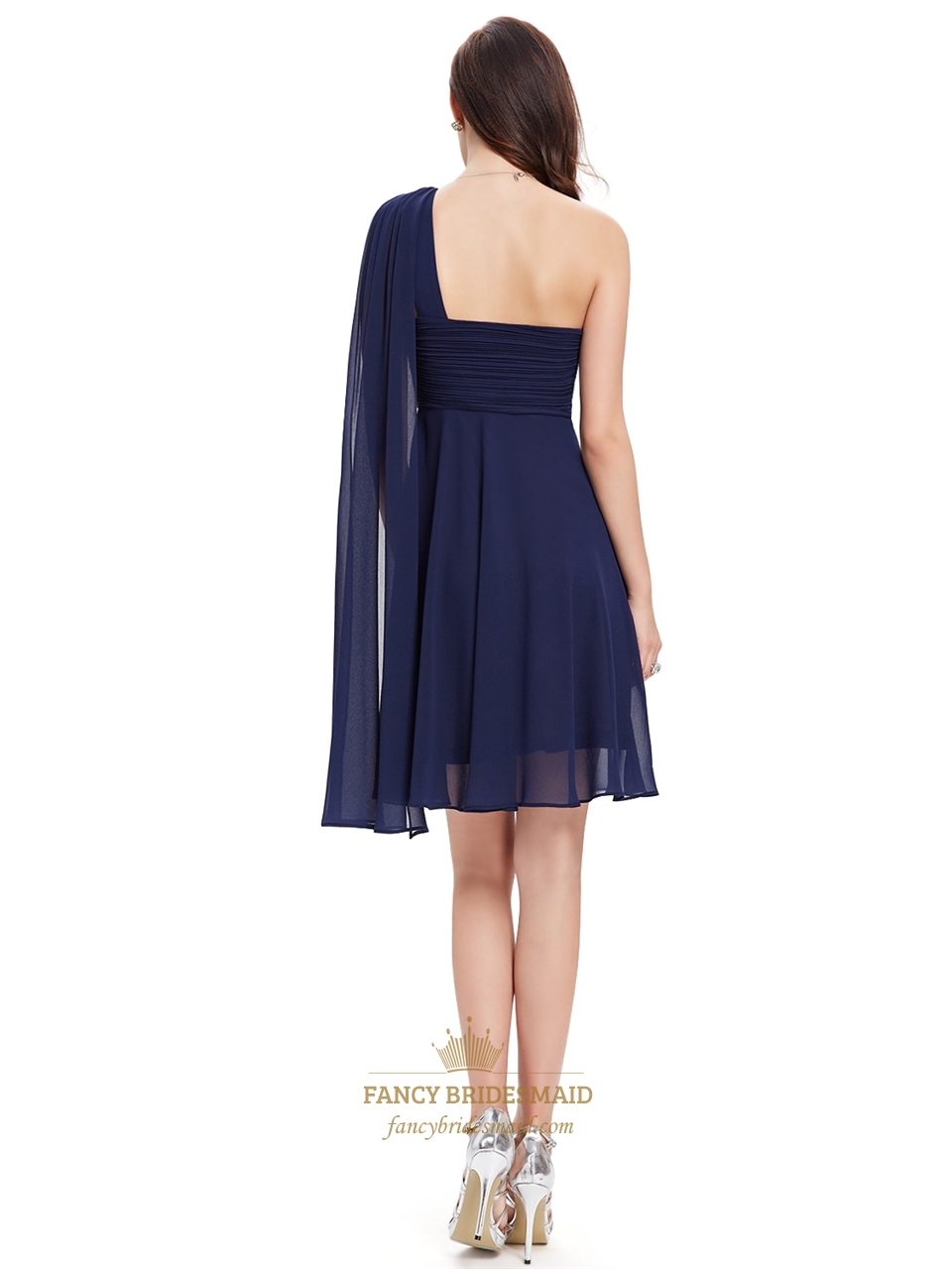 b4f786ccf0aa Navy Blue One Shoulder Chiffon Short Bridesmaid Dress With Watteau Train