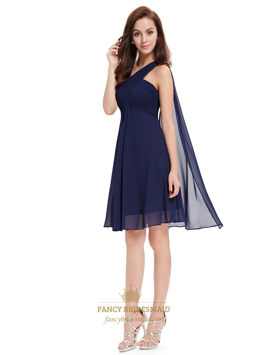 Navy Blue One Shoulder Chiffon Short Bridesmaid Dress With Watteau Train Sku Nw1166