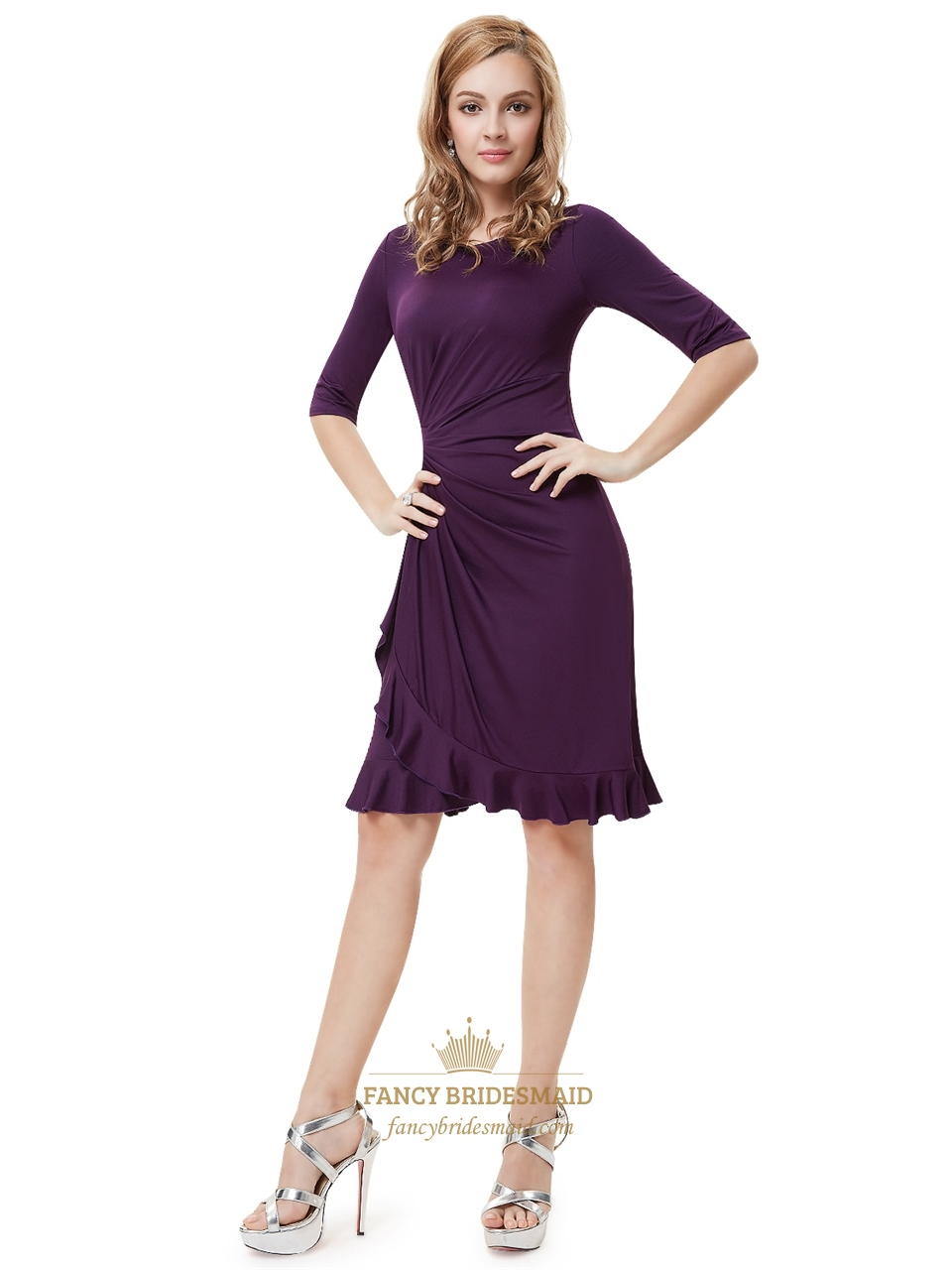 Grape Sheath Chiffon Knee Length Cocktail Dresses With Half Sleeve ...