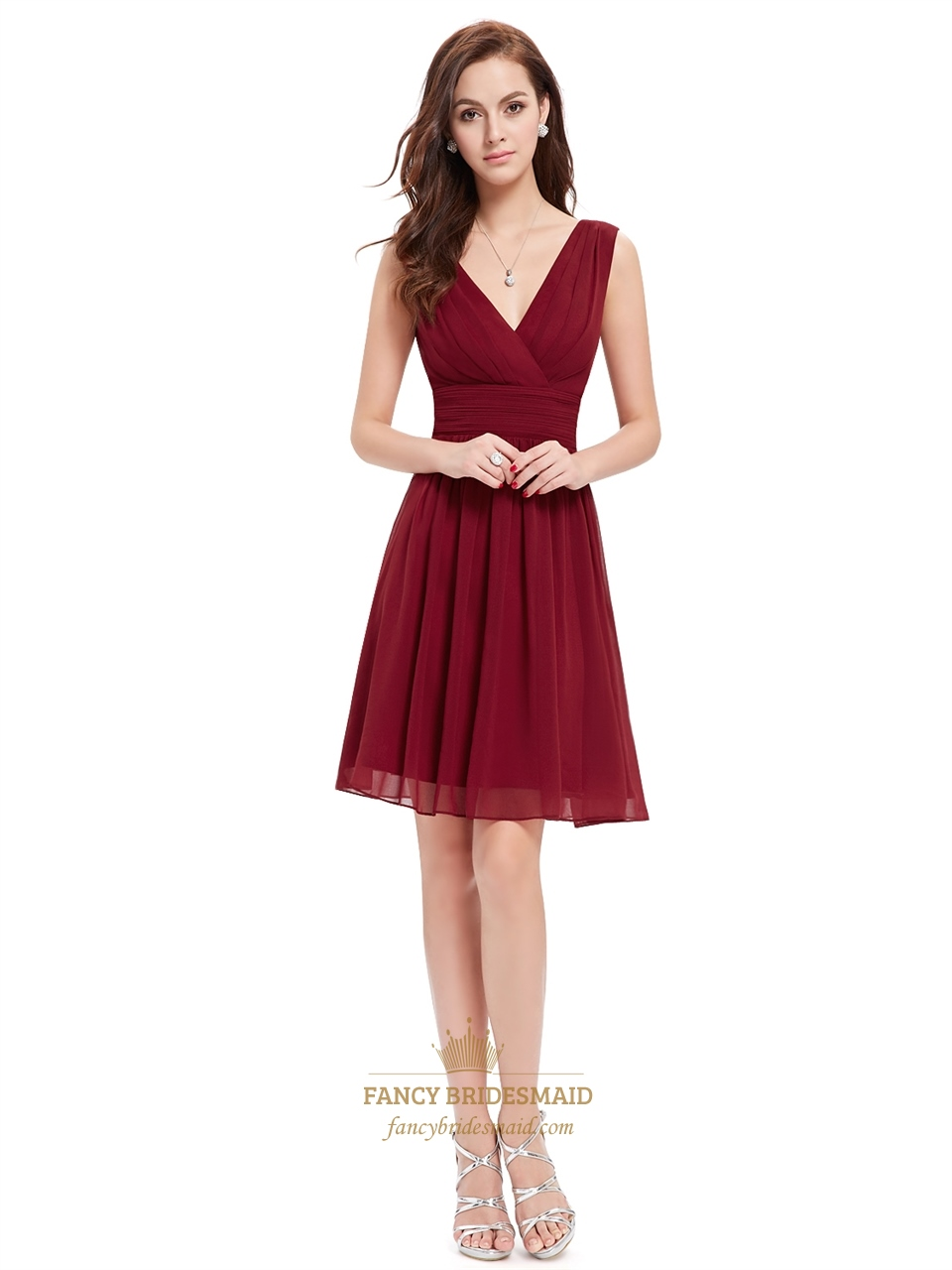 Burgundy cocktail evening dresses