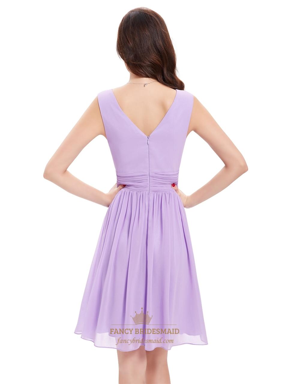 lilac chiffon v neck knee length bridesmaid dresses for