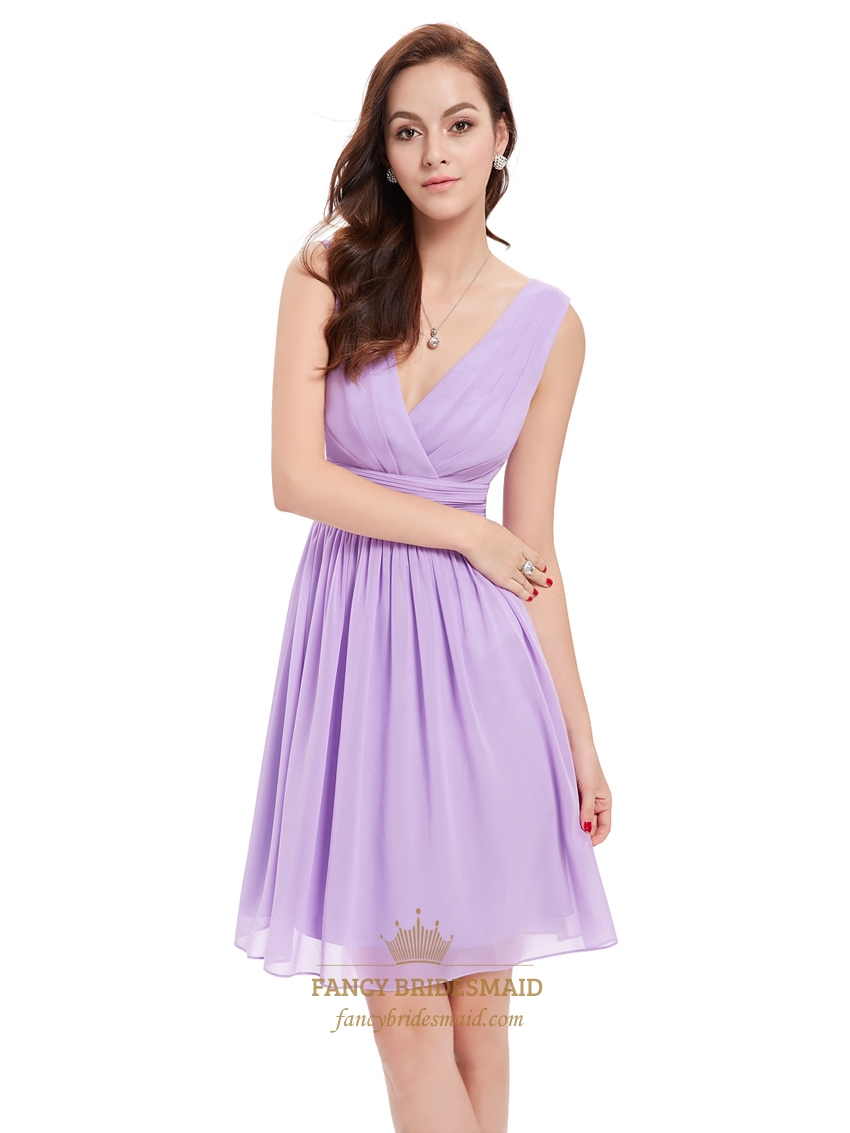 lilac chiffon v neck knee length bridesmaid dresses for