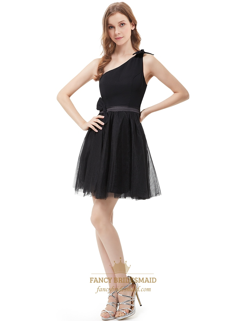 Little black one shoulder tulle short cocktail dress with for Little black wedding dress