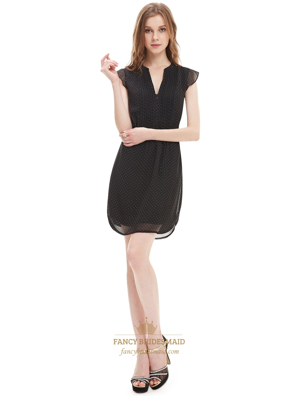 c93838ddb79 Black Chiffon Summer Women s Semi Formal Dresses With Cap Sleeve ...