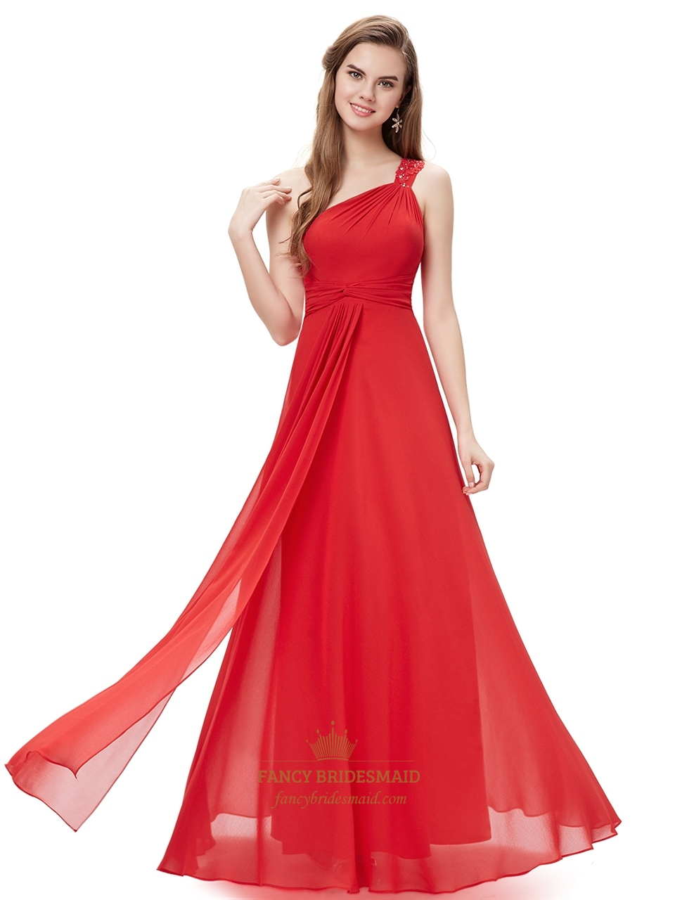 Red flowy one shoulder chiffon bridesmaid dresses with beaded red flowy one shoulder chiffon bridesmaid dresses with beaded straps ombrellifo Gallery
