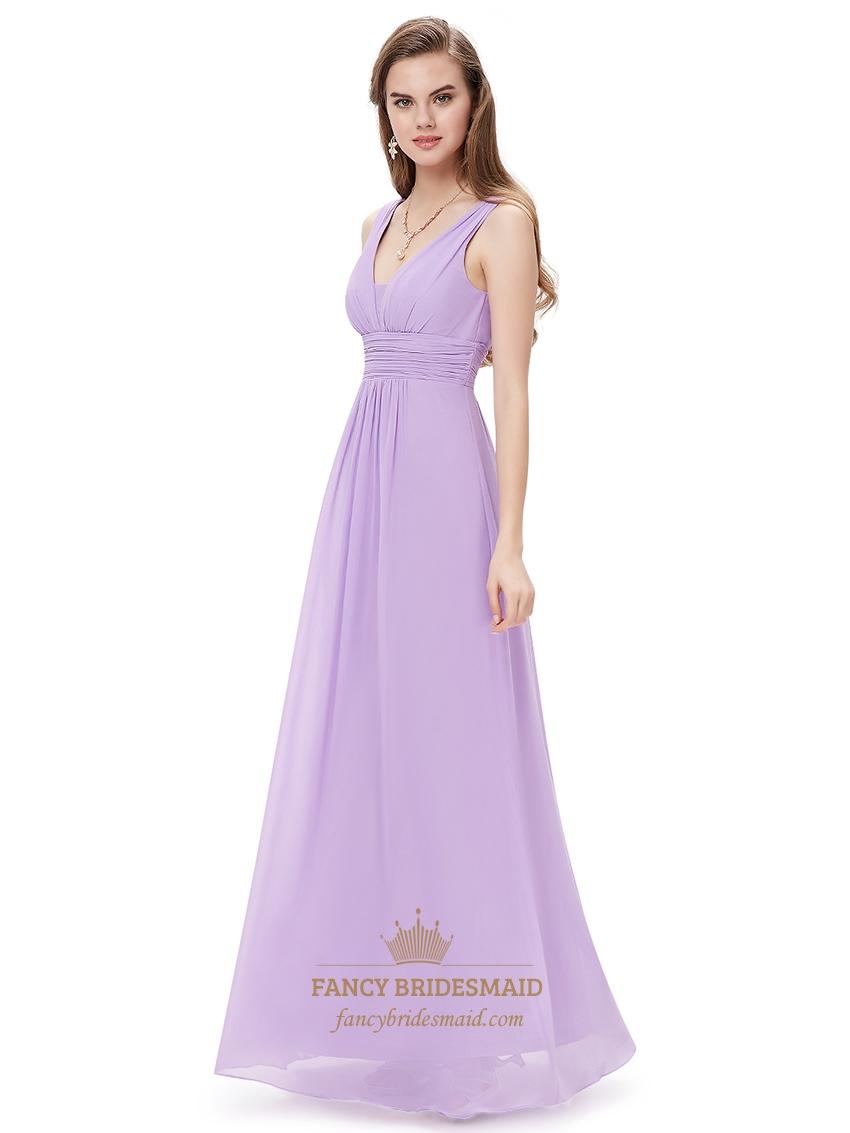 lilac v neck sleeveless chiffon bridesmaid dresses for