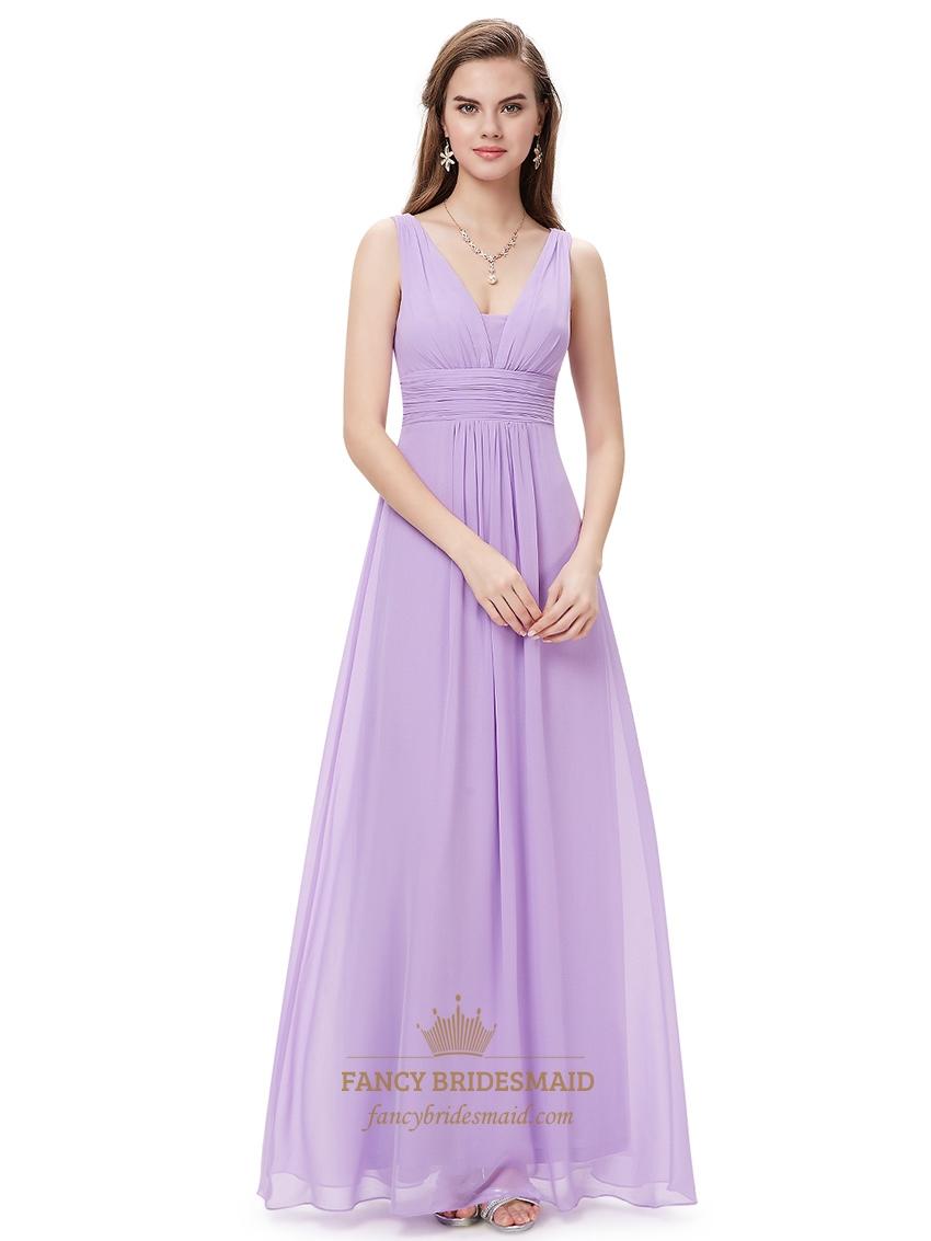 Lilac V Neck Sleeveless Chiffon Bridesmaid Dresses For ...