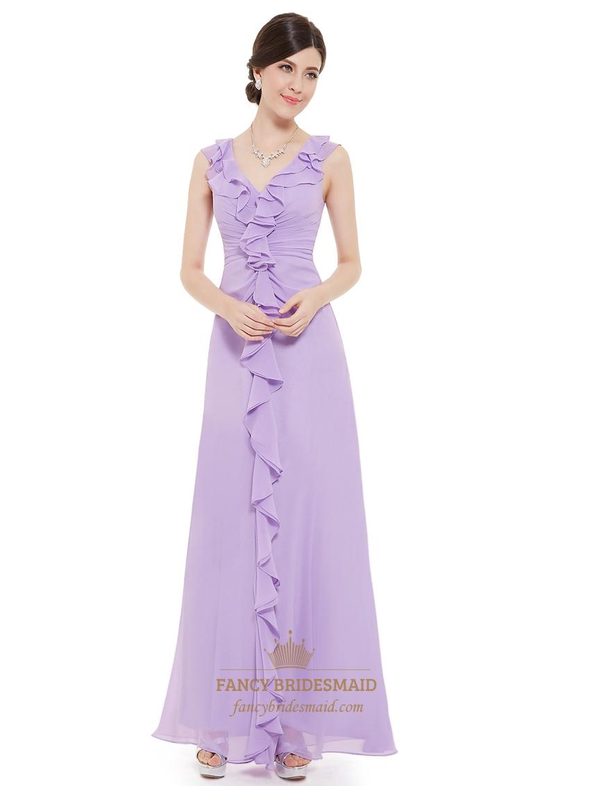 lilac chiffon v neck sheath bridesmaid dresses with