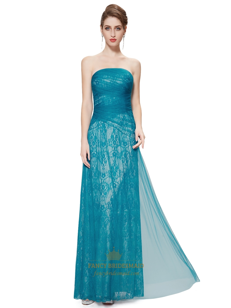 Lace Overlay Floor Length Turquoise Dresses