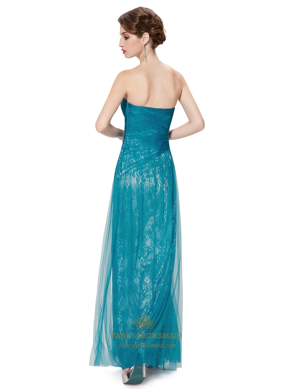 Teal Strapless Lace Sheath Floor Length Prom Dress With ...