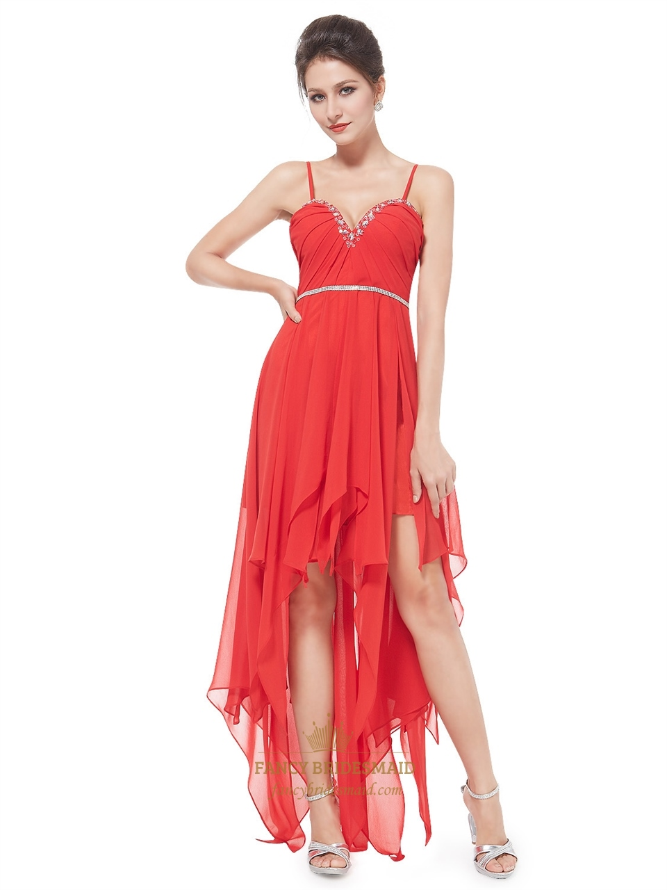 Red spaghetti strap chiffon high low ruffle prom dress with red spaghetti strap chiffon high low ruffle prom dress with beading ombrellifo Choice Image