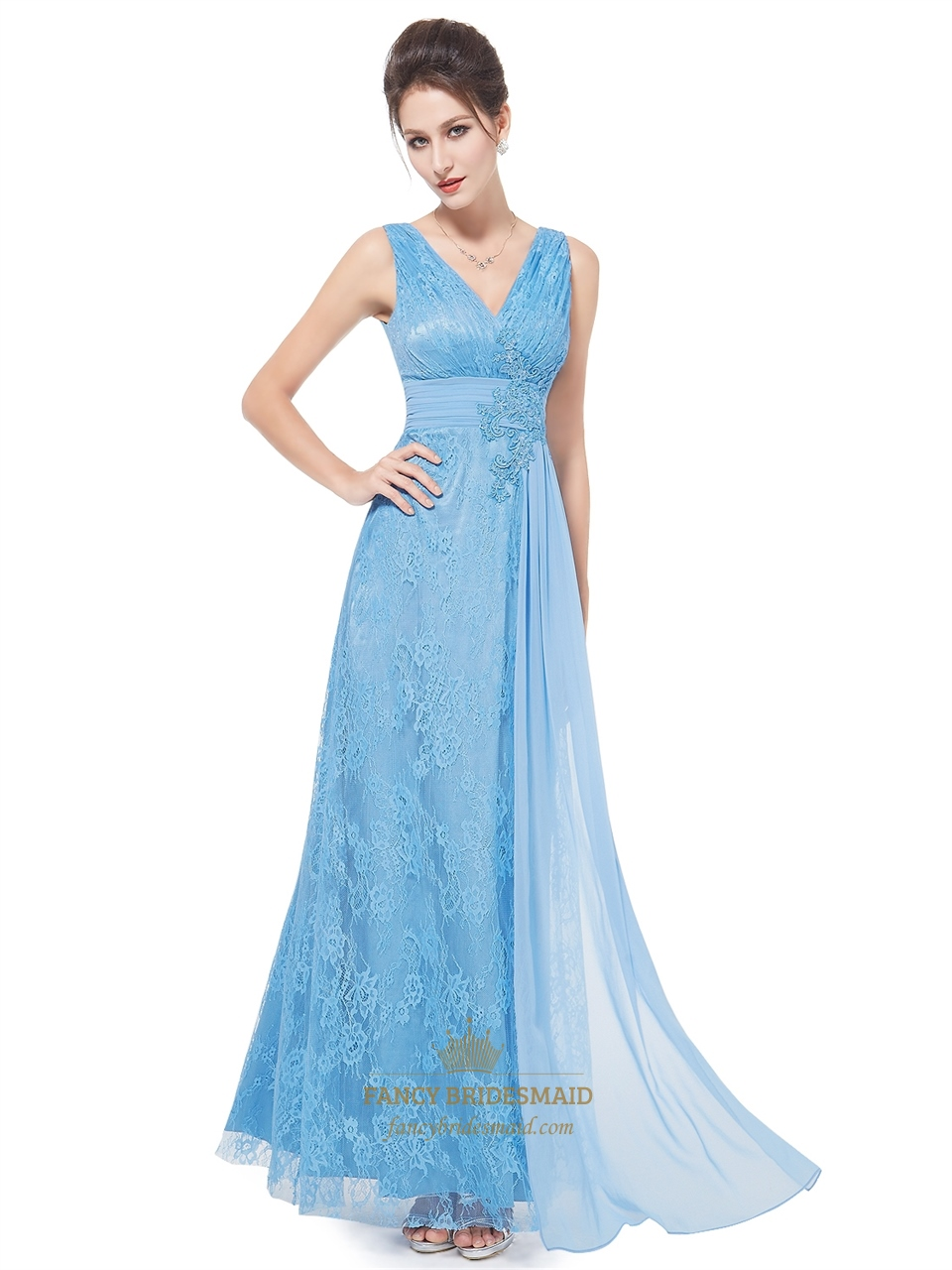 flowy light blue lace v neck full length prom dress with applique detail fancy bridesmaid dresses. Black Bedroom Furniture Sets. Home Design Ideas