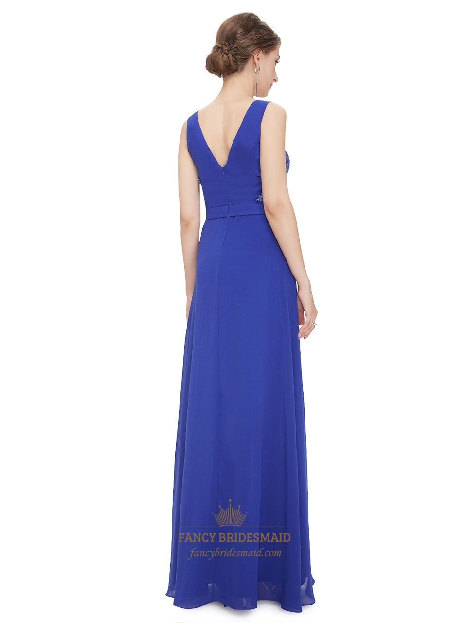 Royal Blue V Neck Chiffon Prom Dress With Lace Embellished ...