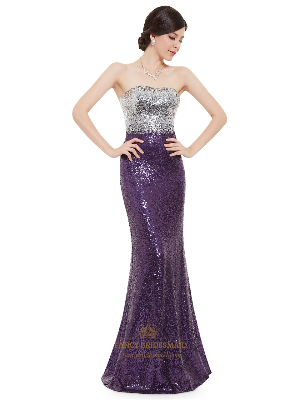 5a0d35d14ca0 Purple And Silver Strapless Mermaid Sequin Floor Length Prom Dress SKU  -NW1196