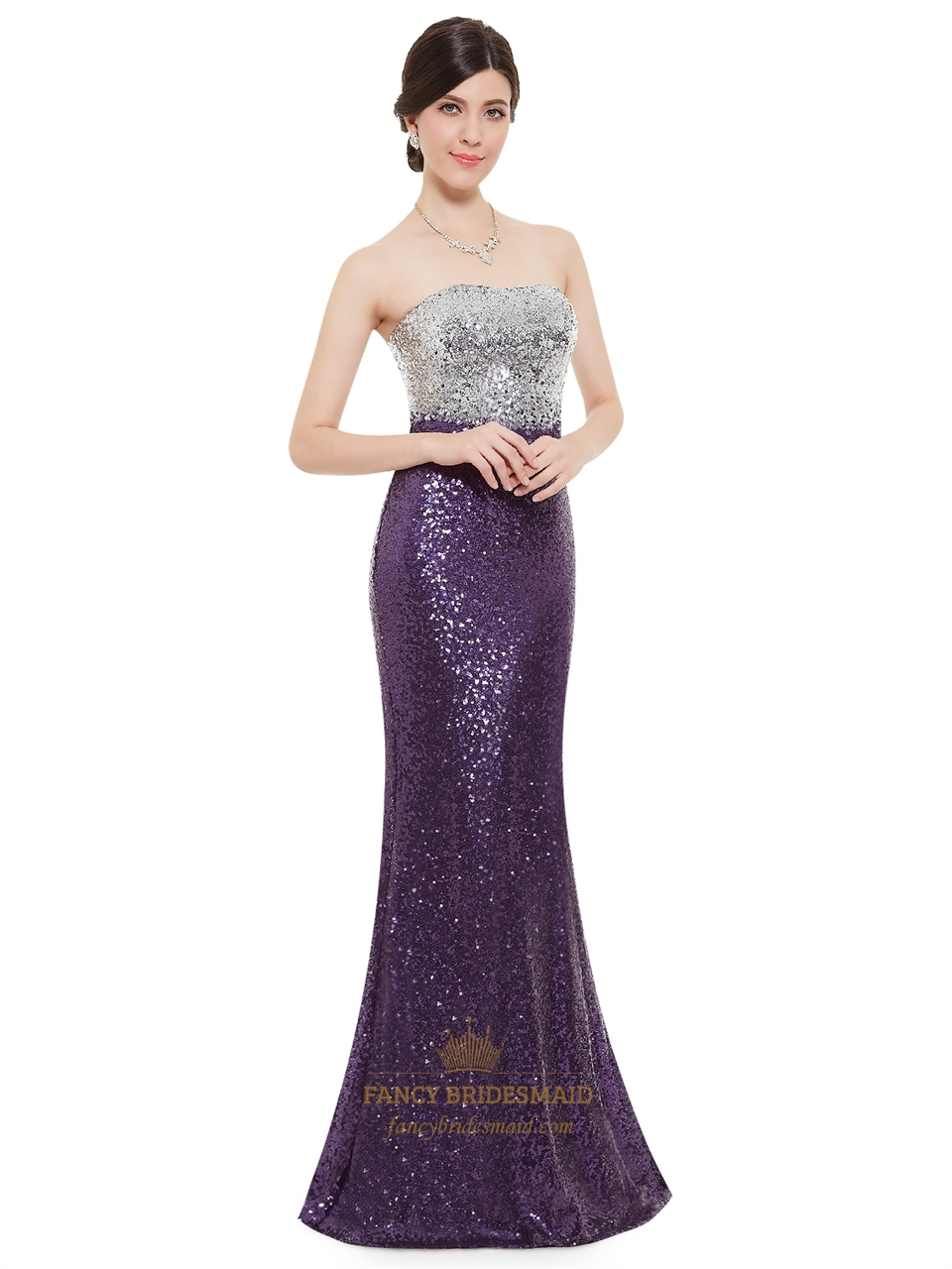 2a742017196e Purple And Silver Strapless Mermaid Sequin Floor Length Prom Dress ...