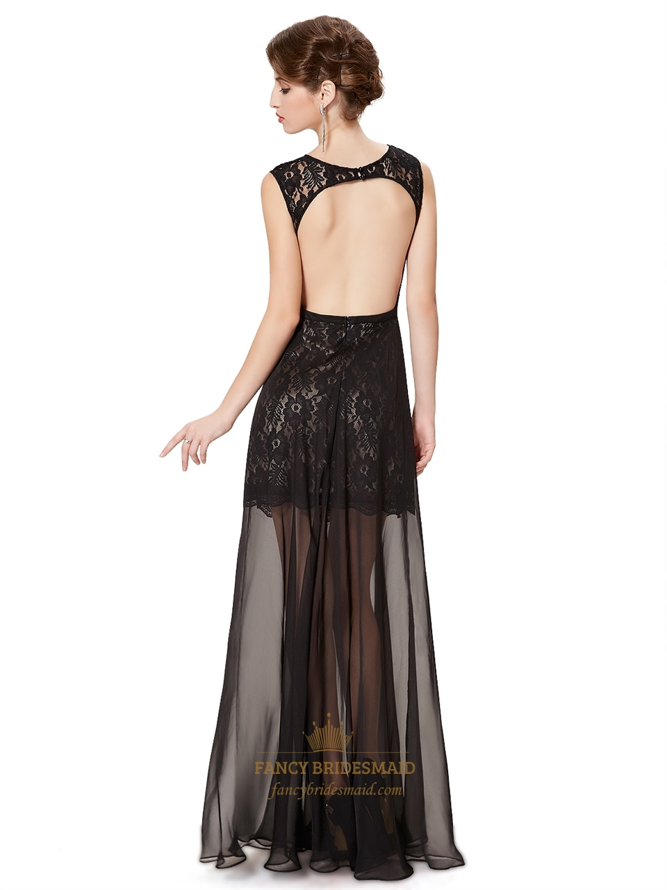 Black Lace Sleeveless Open Back Prom Dress With Sheer
