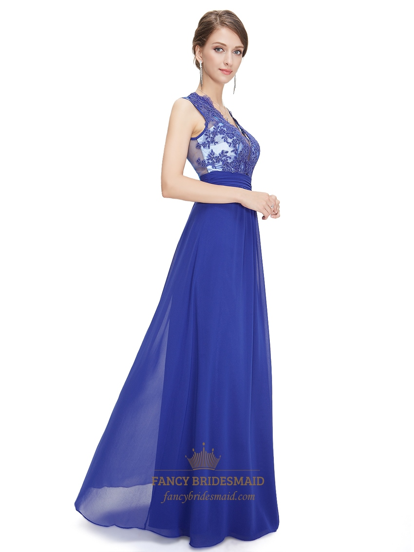 Royal Blue Lace Bodice Sleeveless Chiffon Prom Dress With ...