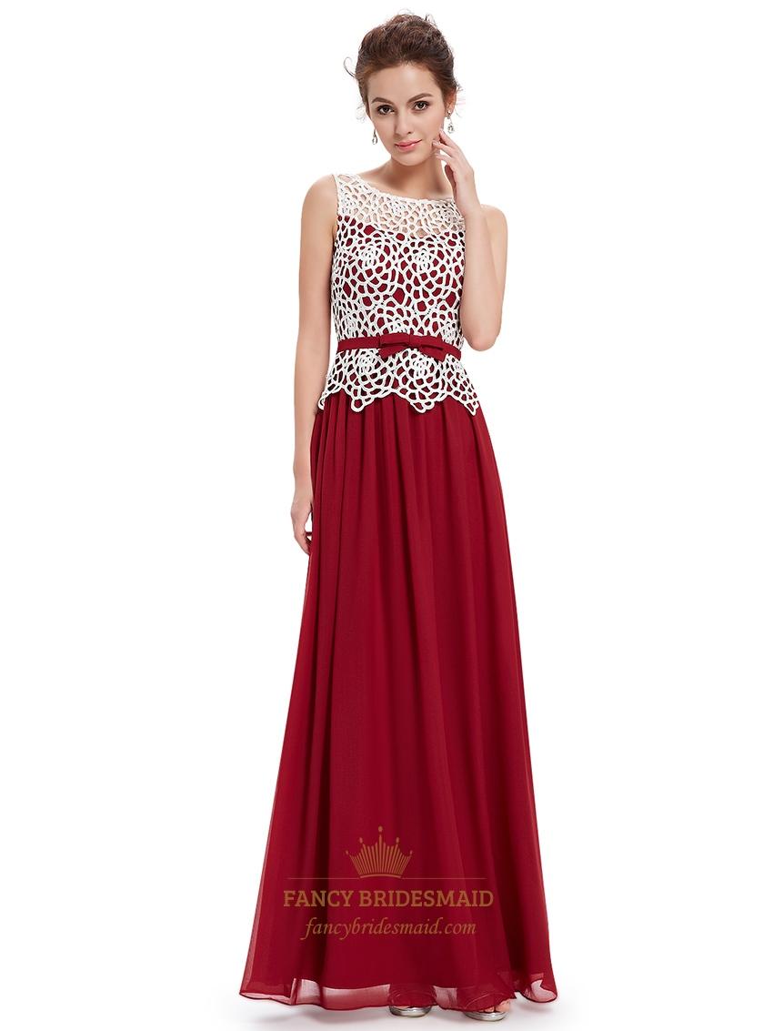 Burgundy Sheer Illusion Neckline Lace Bodice Chiffon Prom Dress | Fancy Bridesmaid Dresses