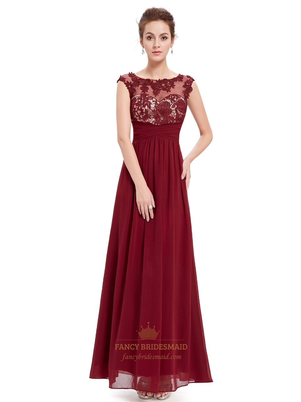 Burgundy Lace Bodice Scoop Neck Chiffon Prom Dress With Cap ...