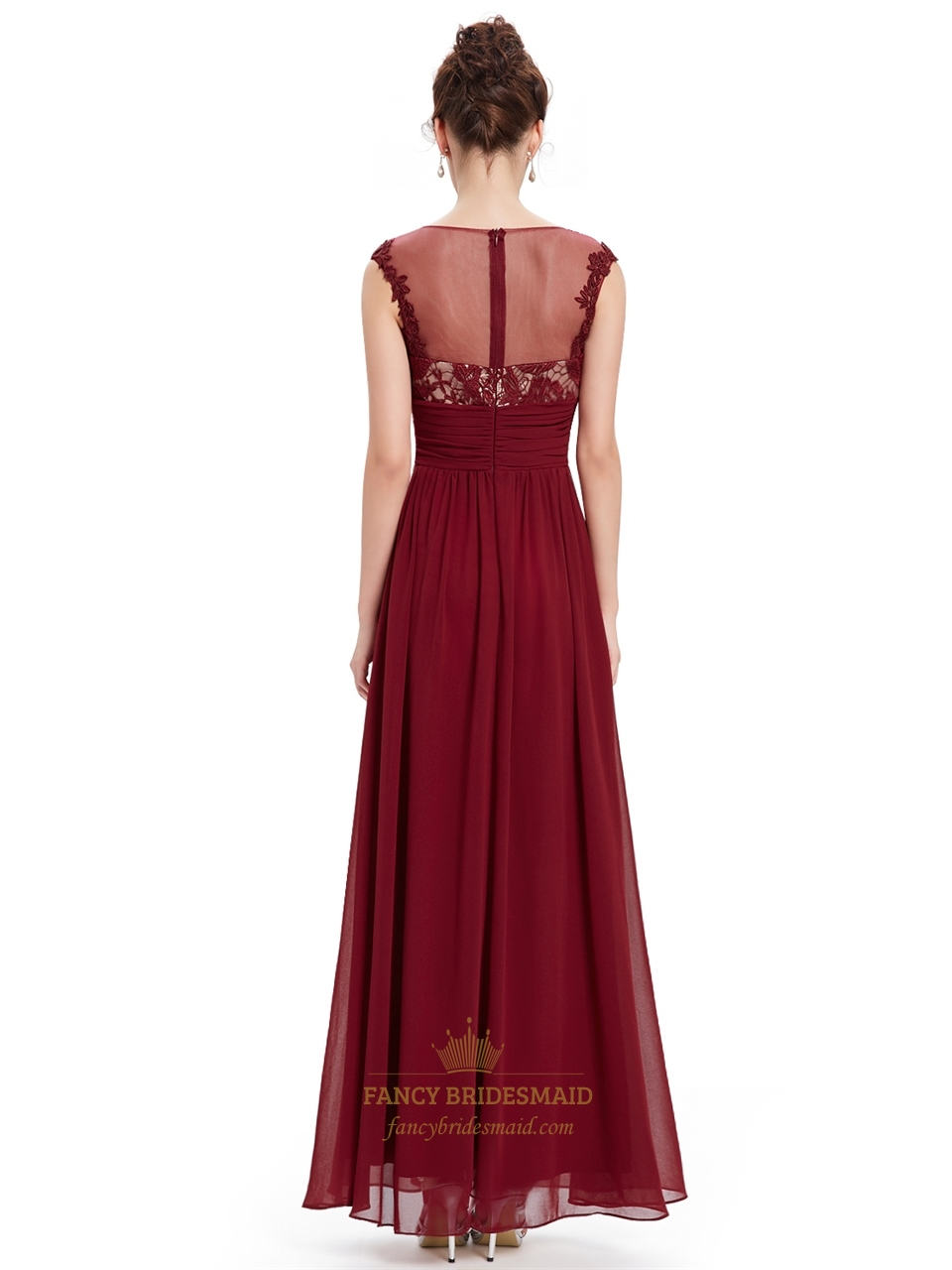 Burgundy Lace Bodice Scoop Neck Chiffon Prom Dress With