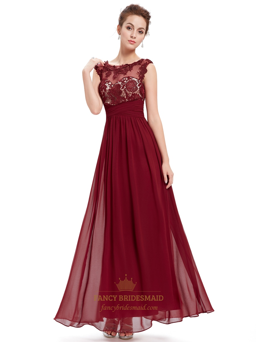 Burgundy Lace Bodice Scoop Neck Chiffon Prom Dress With Cap Sleeves | Fancy Bridesmaid Dresses