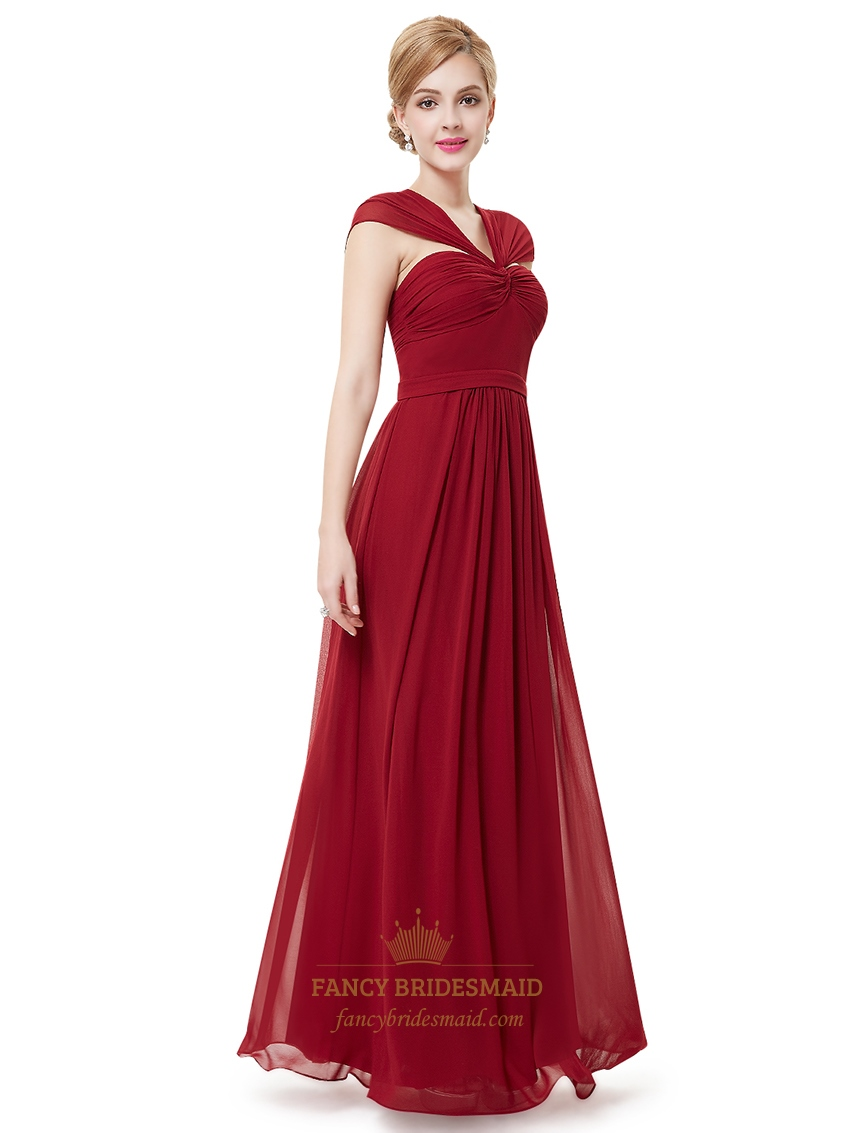 Burgundy V Neck Chiffon Floor Length Bridesmaid Dresses