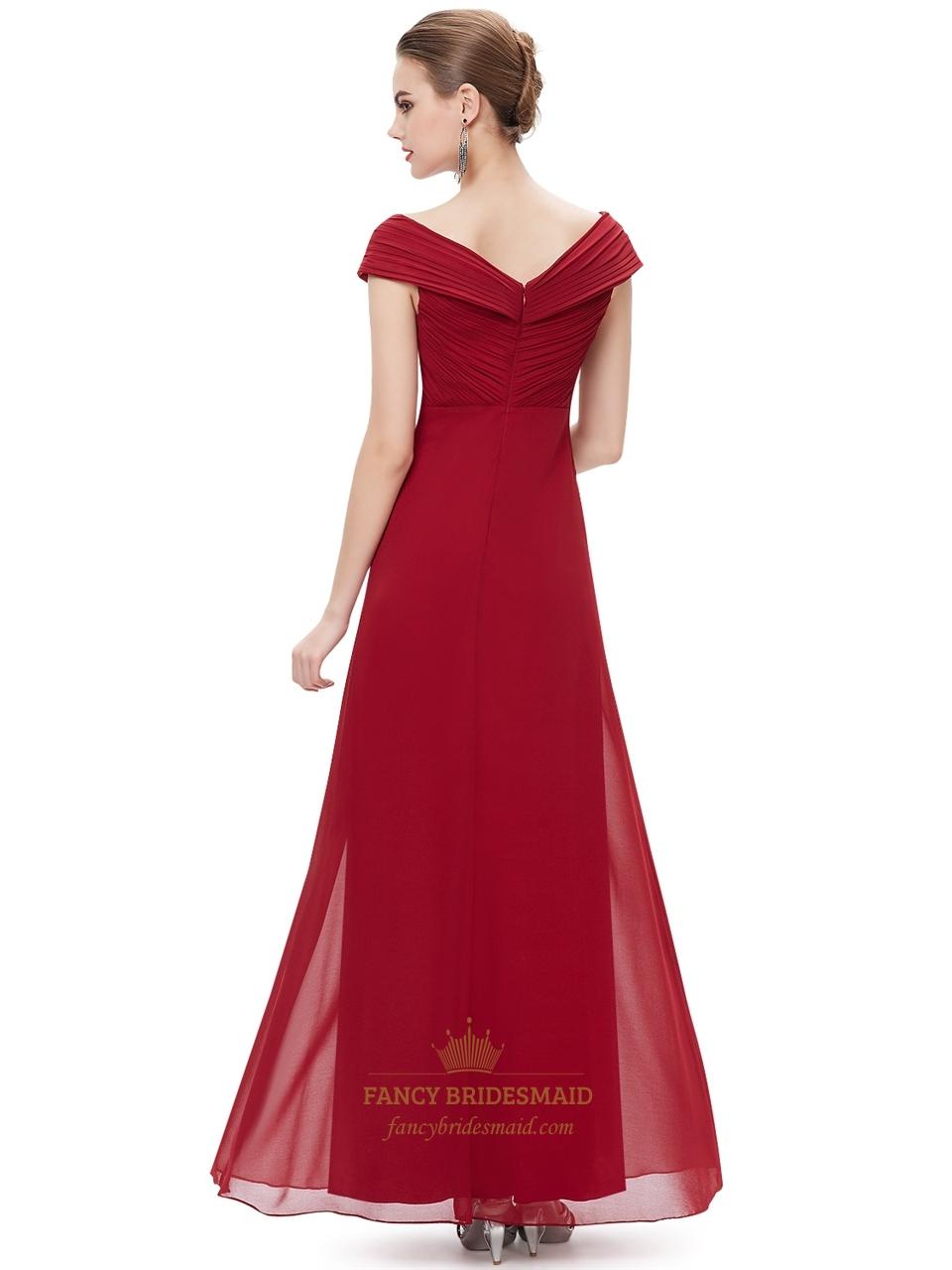 bd225372fe5 Burgundy Flowy Chiffon Off The Shoulder Empire Waist Bridesmaid Dresses