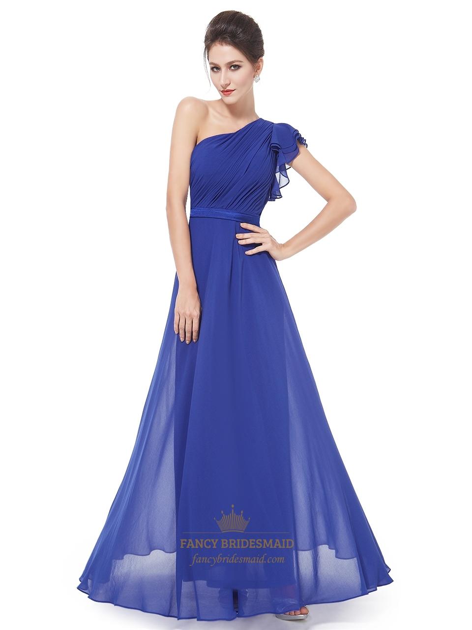 Royal Blue One Shoulder Pleated Bodice Chiffon Bridesmaid Dress ...