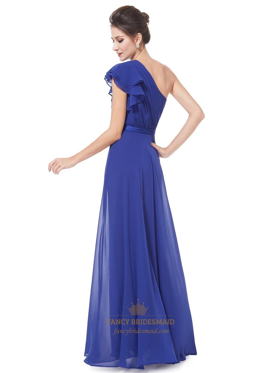 royal blue one shoulder pleated bodice chiffon bridesmaid