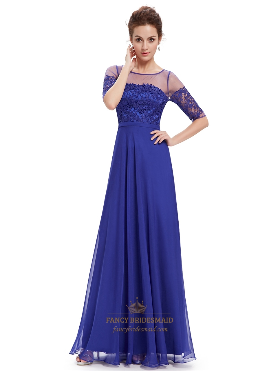 Royal blue summer lace bodice bridesmaid dresses with half sleeves royal blue summer lace bodice bridesmaid dresses with half sleeves ombrellifo Image collections