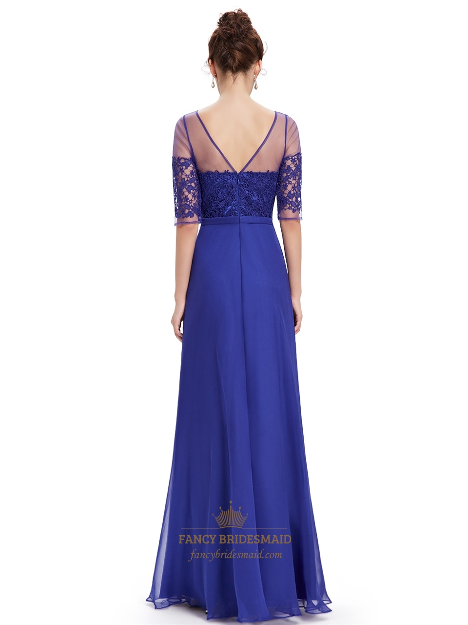 Royal Blue Summer Lace Bodice Bridesmaid Dresses With Half Sleeves ...
