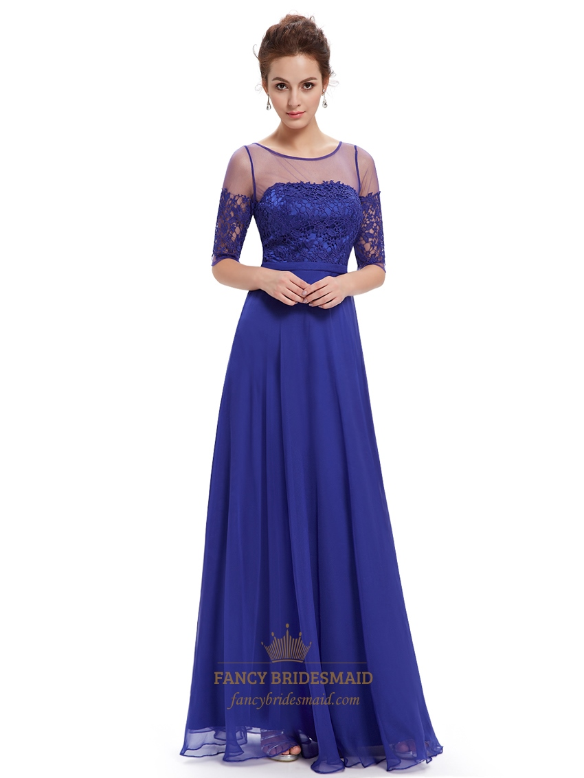 Royal Blue Summer Lace Bodice Bridesmaid Dresses With Half Sleeves | Fancy Bridesmaid Dresses