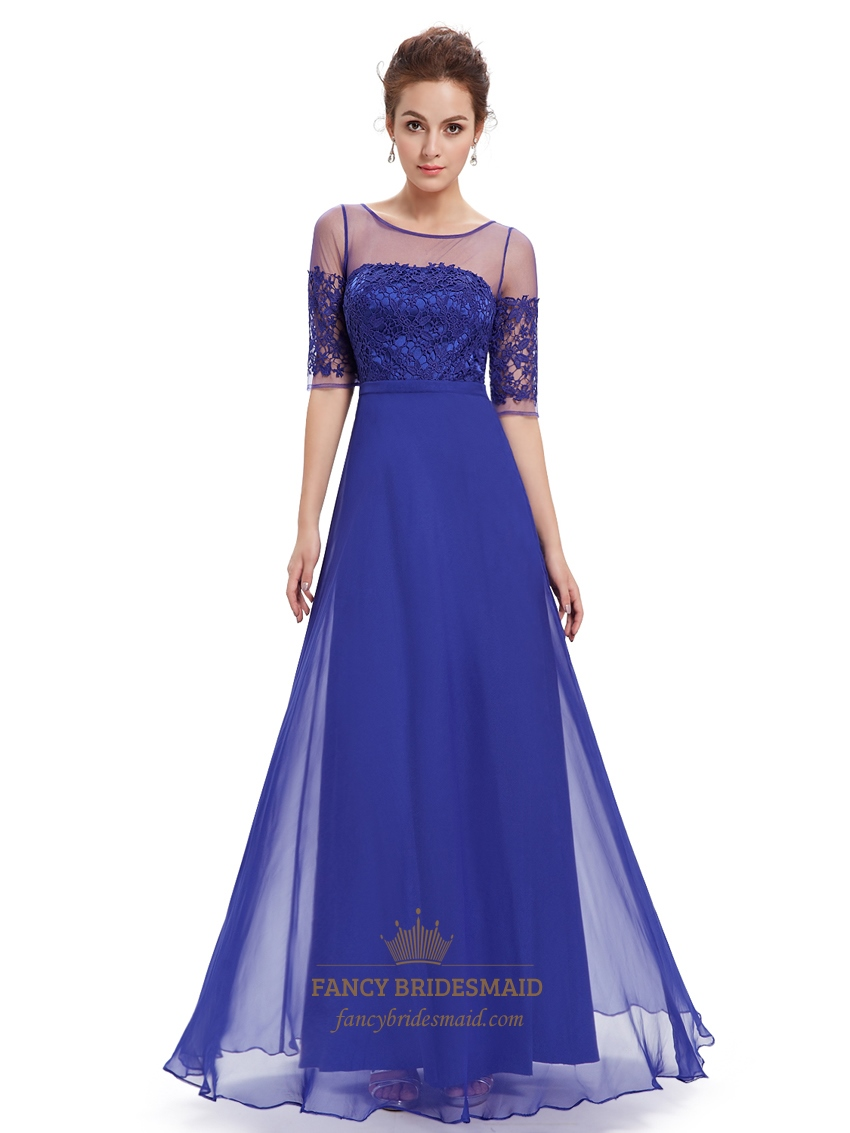Royal Blue Summer Lace Bodice Bridesmaid Dresses With Half